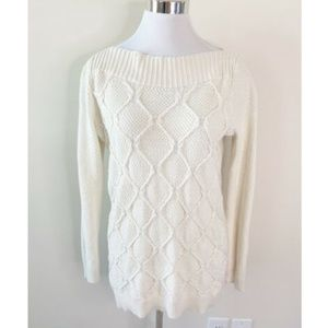 Ann Taylor Loft Cable Knit Sweater Ivory